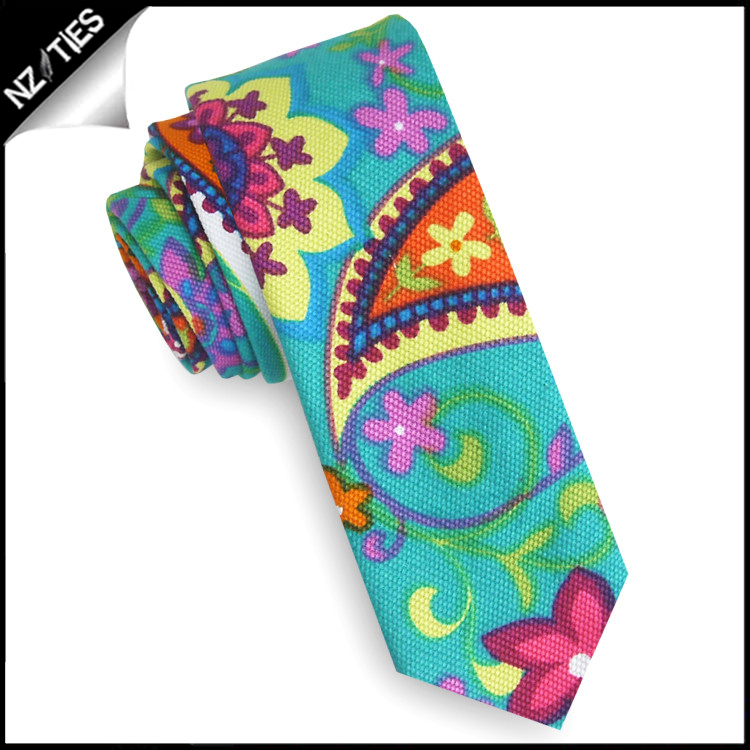 Turquoise, Pink, Yellow & Orange Floral Skinny Tie