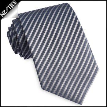 Dark Grey & Silver Thin Stripes Mens Necktie
