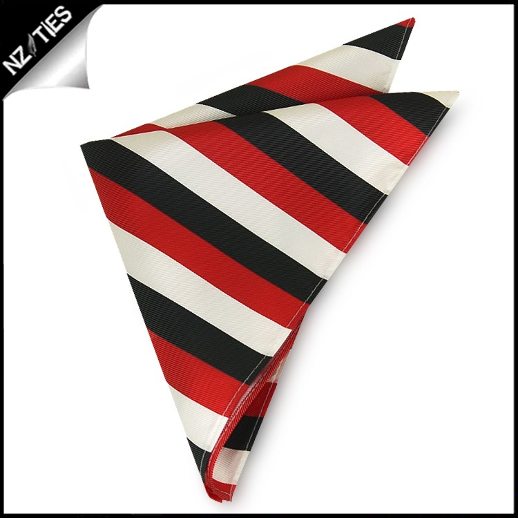 Red, Black & White Striped Pocket Square Handkerchief