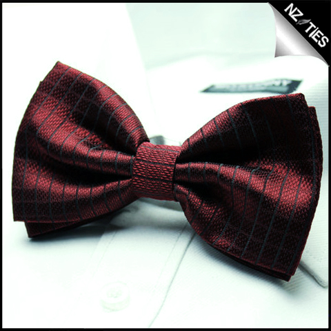Mens Burgundy Red Check Bow Tie