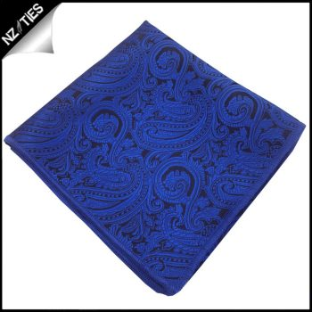 Blue With Black Paisley Pocket Square