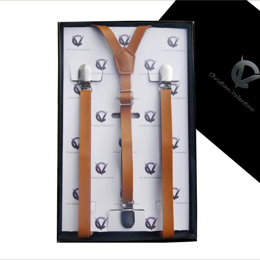 Boys Brown Leather Braces Suspenders