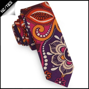 Purple Orange Pink And Cream Floral Mens Skinny Necktie