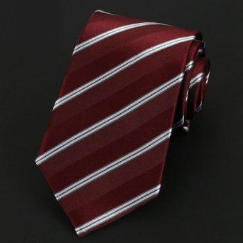 Burgundy & White Stripes Silk Tie