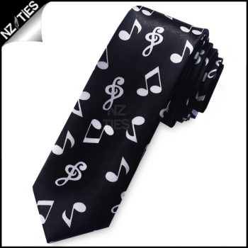 Music Notes Mens Skinny Necktie