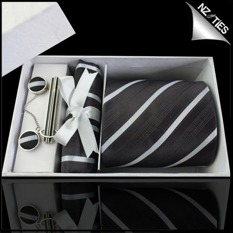 Black with Thin White Bands & Zip Texture Tie Set