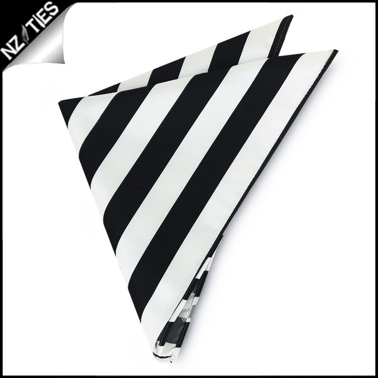Black & White Striped Pocket Square Handkerchief