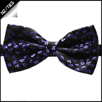 Purple And Black Floral Bow Tie