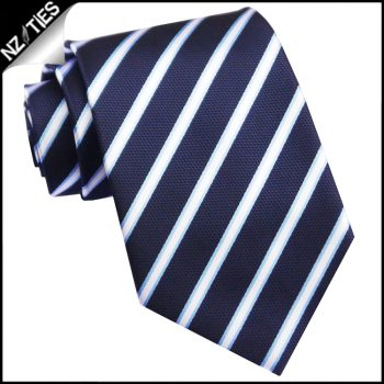 Midnight Blue Texture With Thin Blue & White Stripes Mens Tie
