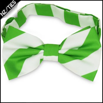 Green & White Stripes Mens Bow Tie