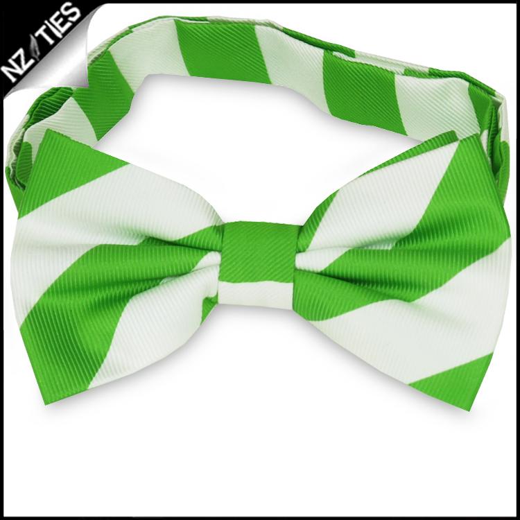 Green & White Stripes Mens Bow Tie