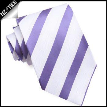 Purple, White & Ivory Stripes Mens Tie