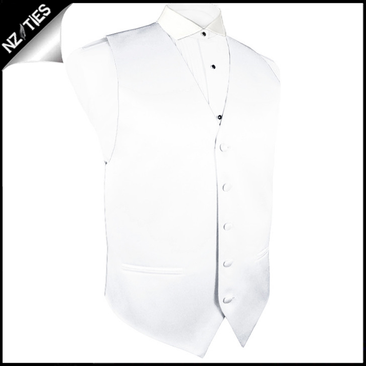 """Mens White Waistcoat Vest 46"""" / 117cm MXL"""