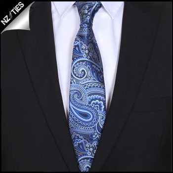 Light & Dark Blue Paisley Mens Tie