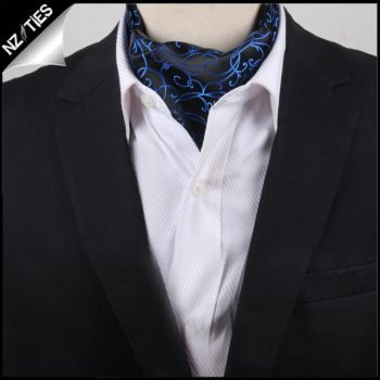 Men's Black With Blue Swirl Design Ascot Cravat