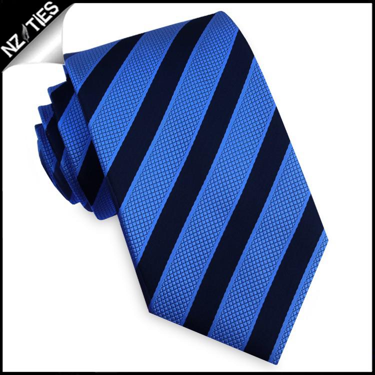 Dark Blue with Textured Blue Stripes Tie Set 2