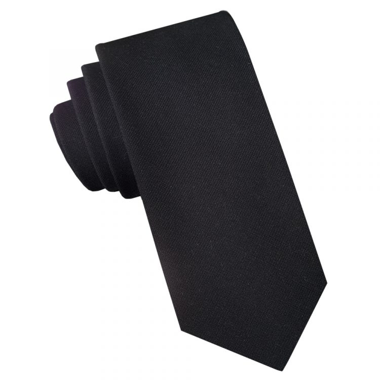 Black Cotton Blend Skinny Tie