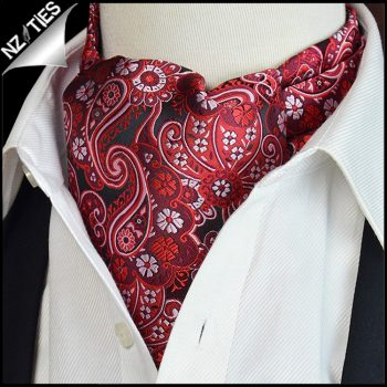 Black With Red & White Floral Paisley Ascot Cravat