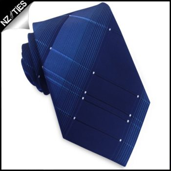 Dark Blue With Blue Crosshatch Diamonds Mens Tie