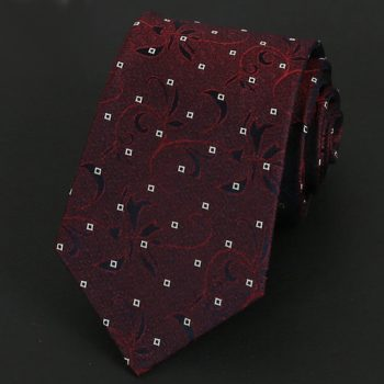 Burgundy Floral Pattern With White Squares Silk Tie