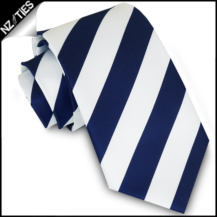 Navy Blue & White Stripes Mens Sports Necktie