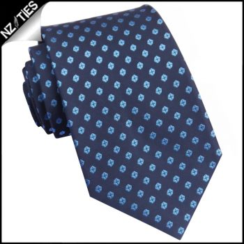 Dark Blue With Light Blue Hexagons  Mens Tie