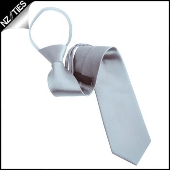 Mens Light Silver Zipper Necktie