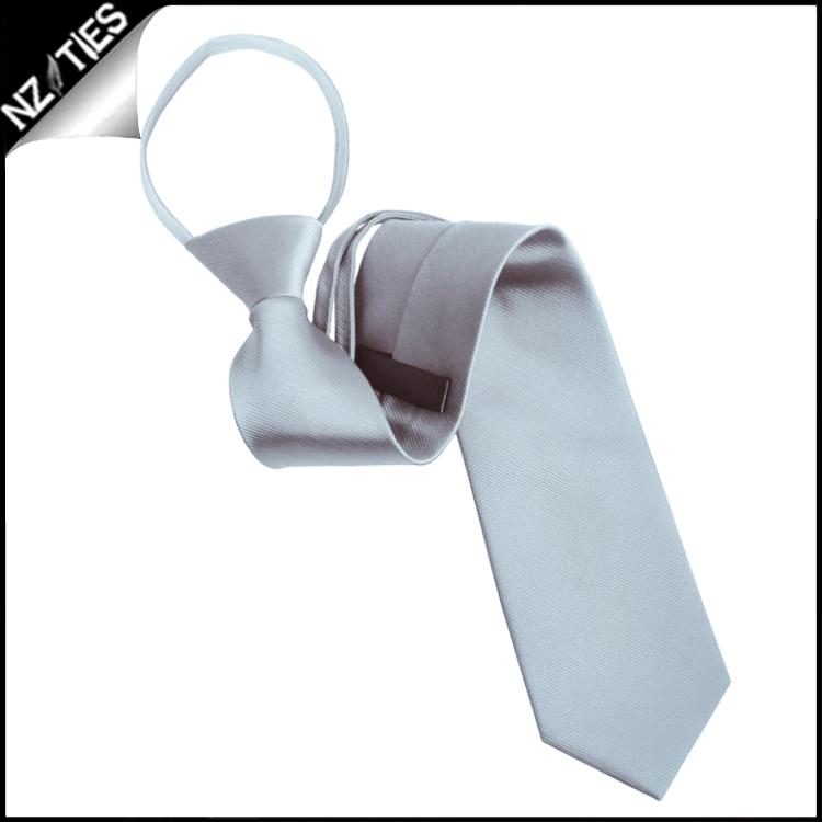 Mens Light Silver Zipper Necktie