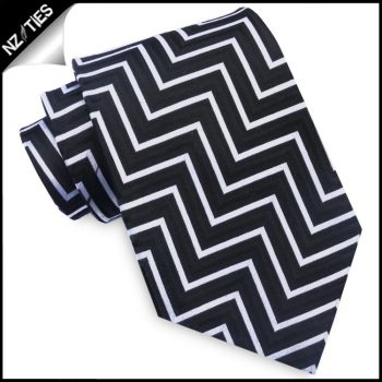 Black, White & Grey Zigzags Mens Necktie