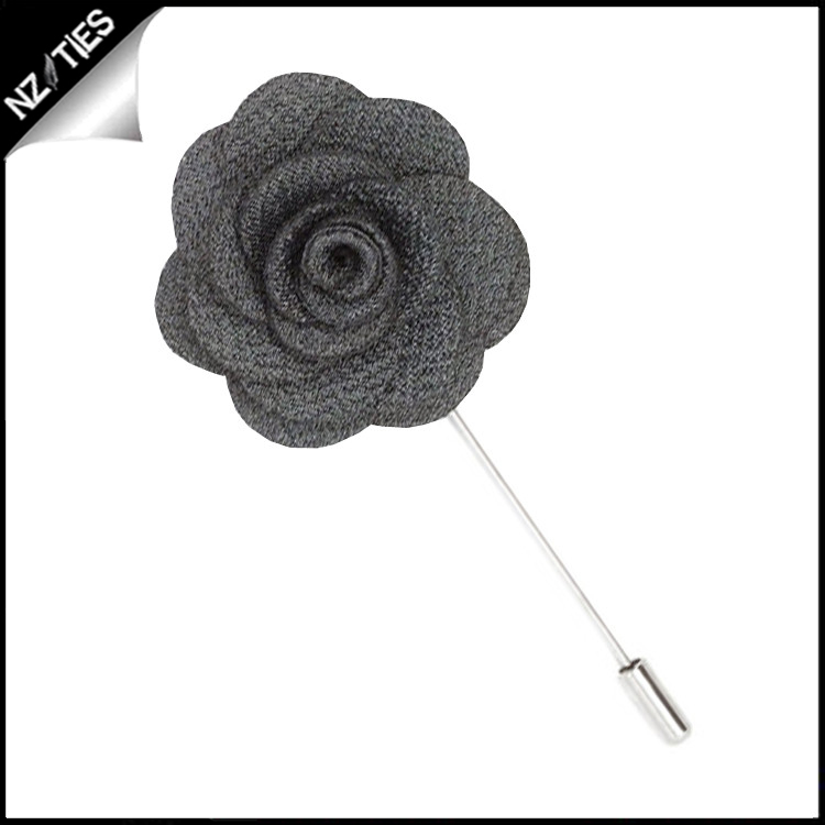 Dark Grey Charcoal Floral Lapel Pin