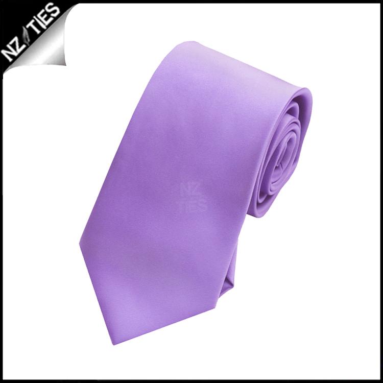 Boys Dark Lavender Purple Plain Necktie
