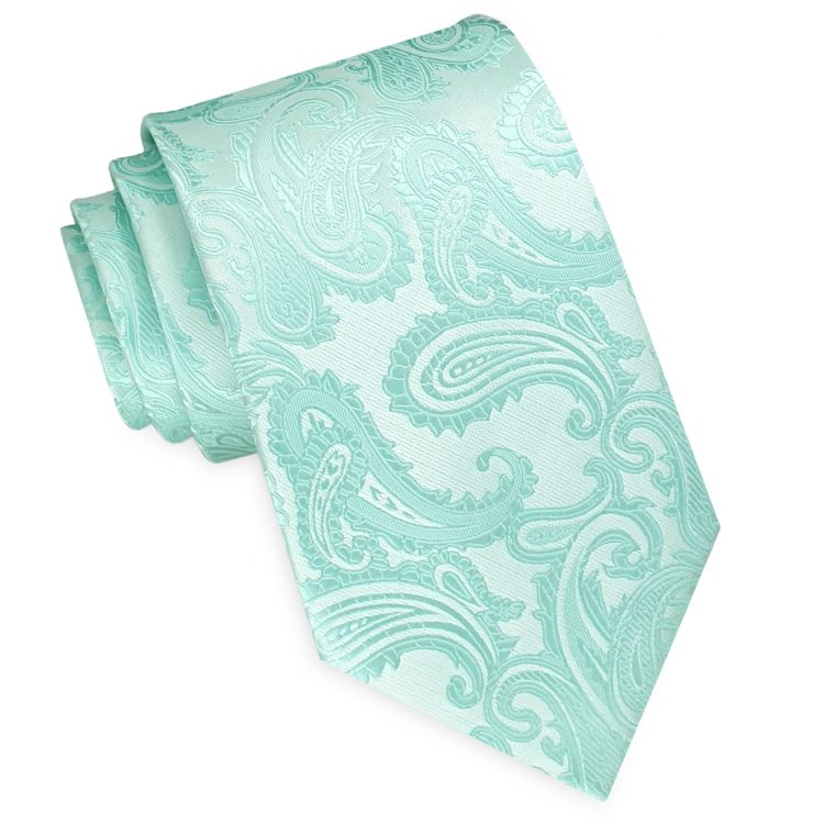 Mint Green Paisley Mens Tie