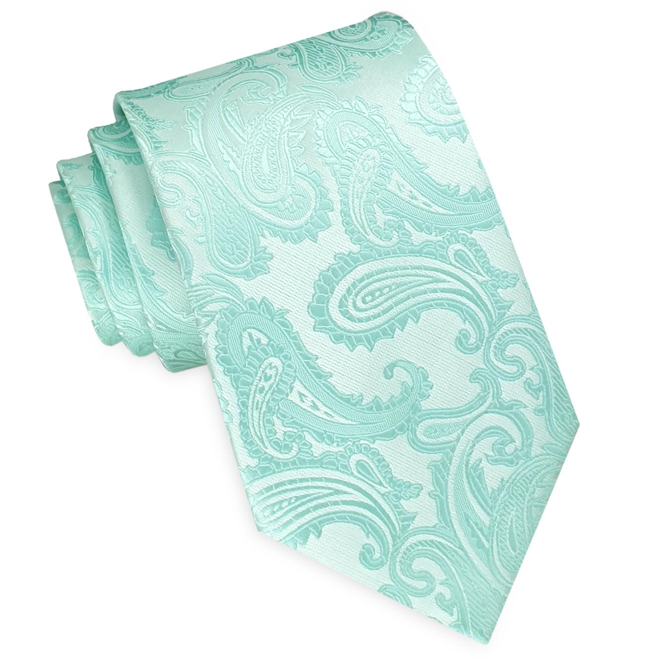 Mint Green Paisley Mens Tie