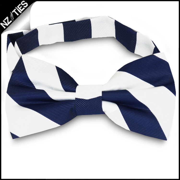 Navy Blue & White Stripes Mens Bow Tie