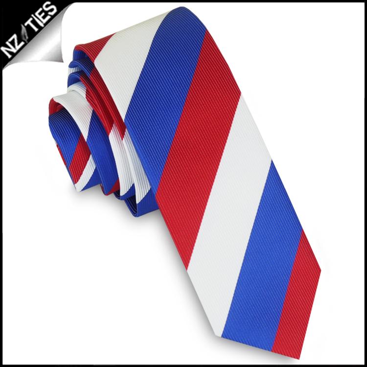 Red, White & Blue Stripes Mens Skinny Necktie