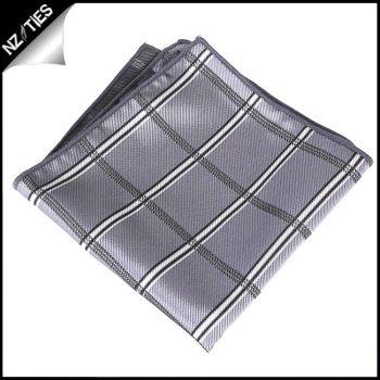 Silver Plaid Pocket Square