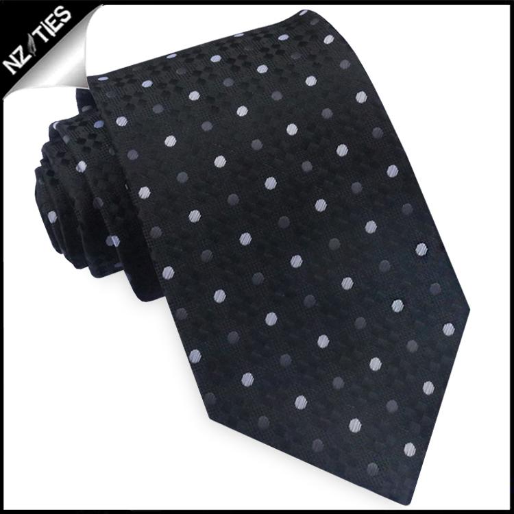 Black Diamond Texture with Polka Dots Mens Tie