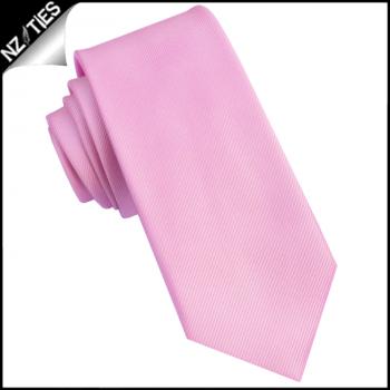 Pink Ribbed 6cm Mens Slim Tie
