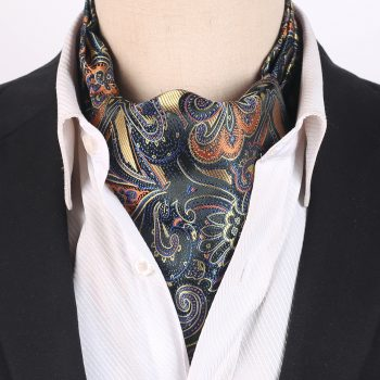 Beige, Orange And Blue Paisley Ascot Cravat
