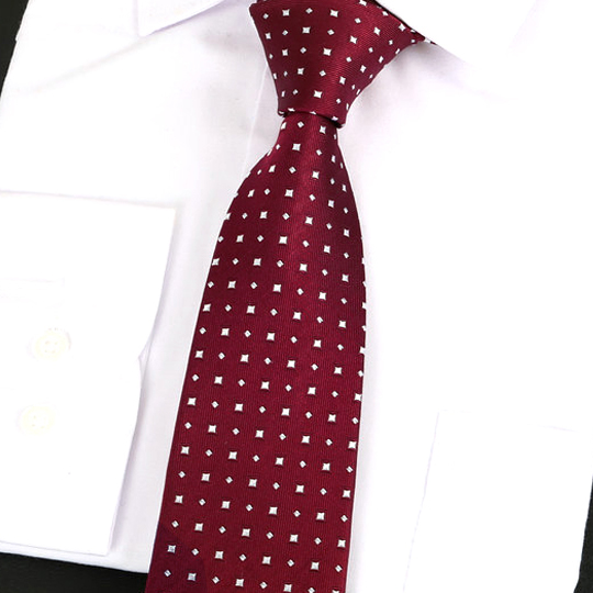 Dark Red with White Squares Silk Tie 2