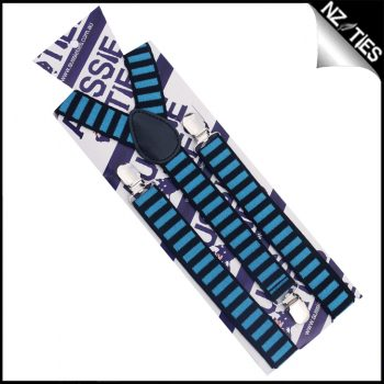 Blue & Black Stripes Braces Suspenders