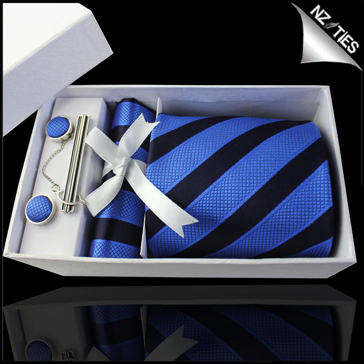 Dark Blue with Textured Blue Stripes Tie Set