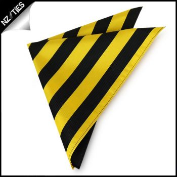 Yellow & Black Striped Pocket Square Handkerchief