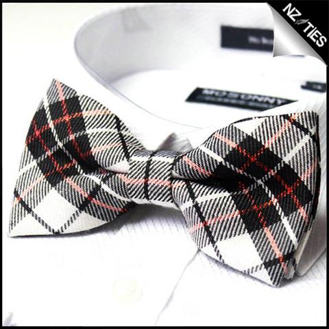 Mens Black White & Red Tartan Bow Tie