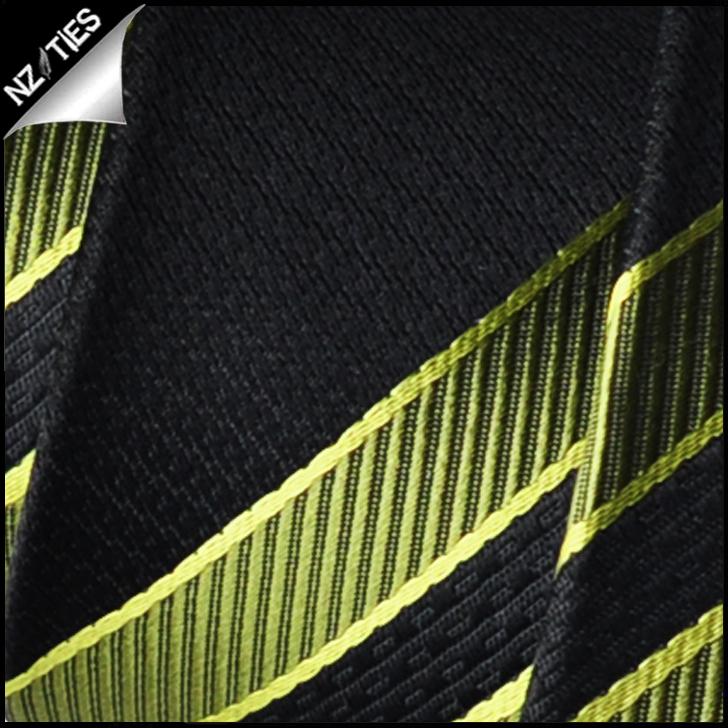 Green Black Orange Yellow Stripes Mens Necktie 2