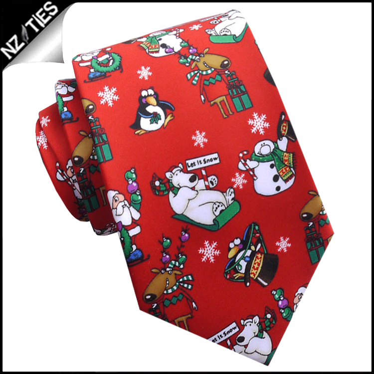 Red Let It Snow Christmas Tie