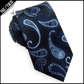 Black With Dark & Light Blue Paisley Tie