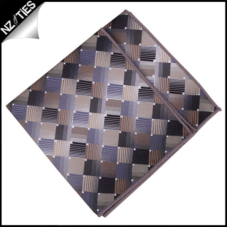 Silver and Bronze Squares Pocket Square