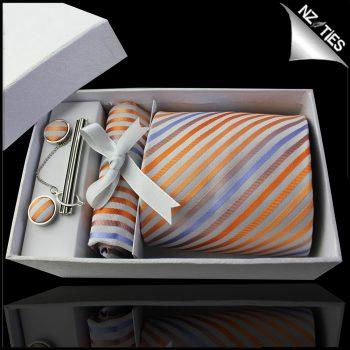 White With Orange, Coral & Lavender Stripes Tie Set