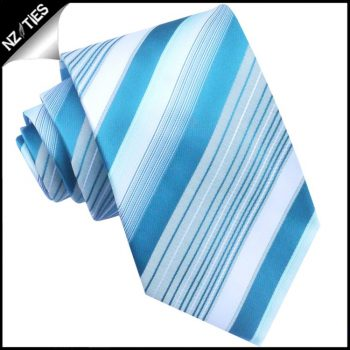 Turquoise & White Stripes Mens Tie